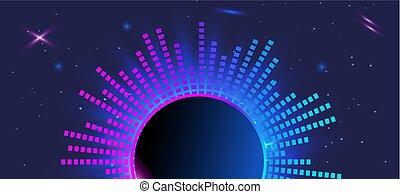 horizontal dark violet banner. Light purple futuristic equalizer in space.