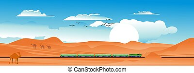 Horizontal desert landscape with high-speed train, rails, fields, sands, clouds. Travel by train banner in Kazakhstan landscape. background for tourism and logistics vector