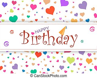 horizontal design  template card. Happy birthday on abstract col