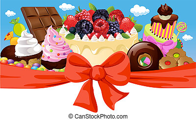 horizontal design with sweet food - cake, chocolate, ice cream and candy