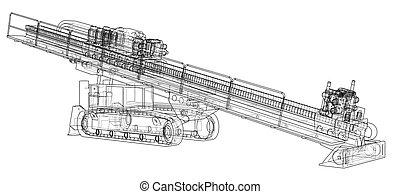 Horizontal directional drilling machine vector