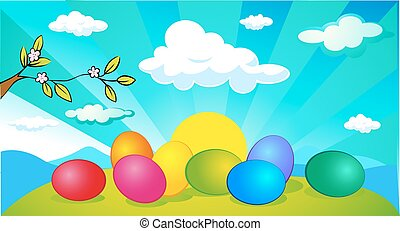 horizontal easter and spring banner