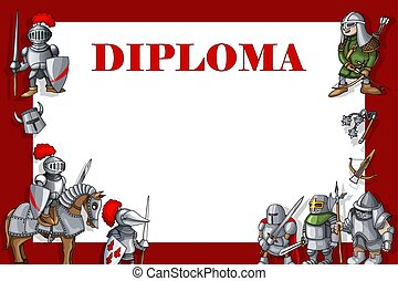 Horizontal Education diploma Frame with the knights set on red background