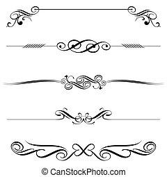horizontal, elemente, dekoration