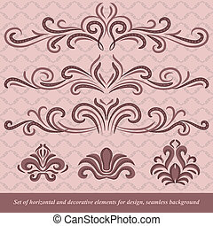 Horizontal elements decoration vector - Set of horizontal...