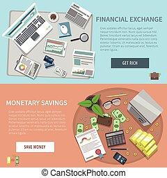 horizontal, ensemble, bannière, banque