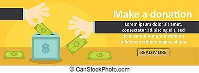horizontal, faire, concept, bannière, donation