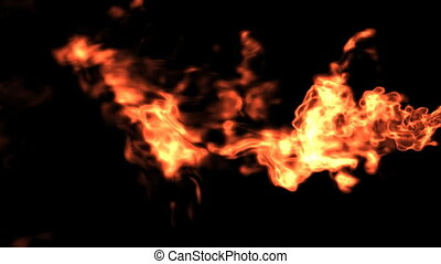 Horizontal Fire with Alpha matte. - 3D rendered realistic...