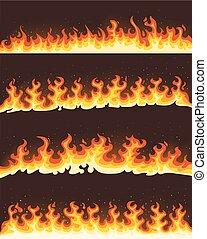 Horizontal flames banner illustration