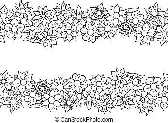 horizontal, flor, frontera, seamless