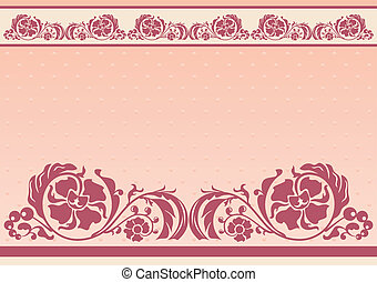 Horizontal floral frame in pink