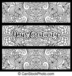 Horizontal flyers with floral pattern