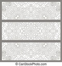 Horizontal flyers with light ethnic pattern