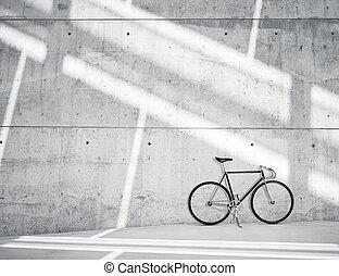 horizontal, foto, leer, grungy, glatt, bloß, betonwand, in, modern, loft studio, mit, klassisch, bike., weich, sunrays, zurückwerfend, auf, surface., leerer , abstrakt, hintergrund.
