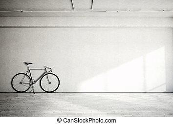 horizontal, foto, leer, grungy, glatt, bloß, betonwand, in, modern, offener platz, studio, mit, klassisch, bike., weich, sunrays, zurückwerfend, auf, holz, floor., leerer , abstrakt, hintergrund.
