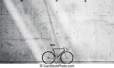 horizontal, foto, leer, grungy, glatt, bloß, betonwand, in, modern, offener platz, studio, mit, klassisch, bicycle., weich, sunrays, zurückwerfend, auf, surface., leerer , abstrakt, hintergrund.