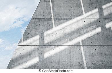 horizontal, foto, leer, grungy, glatt, bloß, betonwand, mit, sunrays, zurückwerfend, auf, surface., leerer , abstrakt, hintergrund., blauer himmel, wolkenhimmel