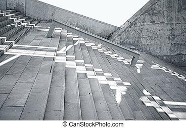 horizontal, foto, leer, grungy, und, glatt, bloß, beton, treppe, mit, weißes, sunrays, zurückwerfend, auf, surface., leerer , abstrakt, hintergrund., moderne architektur, gebäude, bild