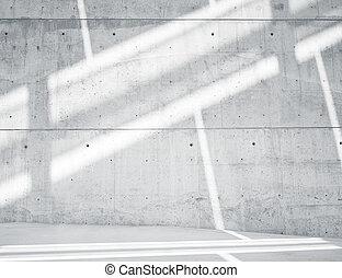 horizontal, foto, leer, grungy, und, glatt, bloß, betonwand, mit, weißes, sunrays, zurückwerfend, auf, licht, surface., leerer , abstrakt, hintergrund