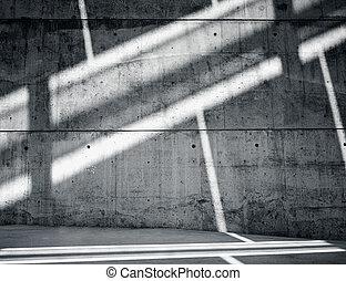 horizontal, foto, leer, grungy, und, glatt, bloß, betonwand, mit, weißes, sunrays, zurückwerfend, auf, dunkel, surface., leerer , abstrakt, hintergrund