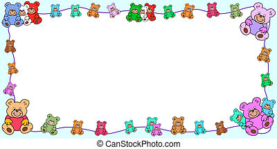 horizontal frame with border out of teddies