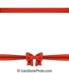 horizontal, frontière, ruban rouge, arc