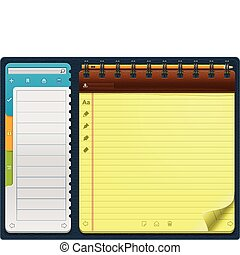 horizontal, gabarit, vecteur, bloc-notes