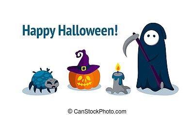 Horizontal greeting banner with Halloween characters. Vector illustration.