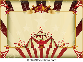 Horizontal grunge circus - a circus vintage poster for your...