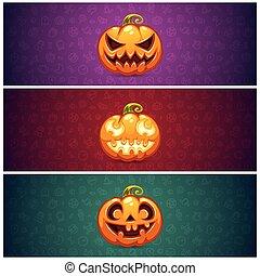 Horizontal Halloween Banners Background with Pumpkin
