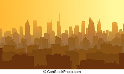 Horizontal illustration of big city with roofs of houses and skyscrapers.