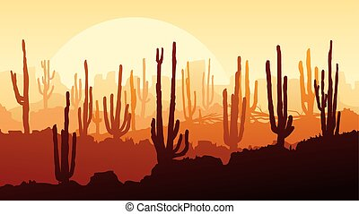 Horizontal illustration of desert with cacti at sunset.