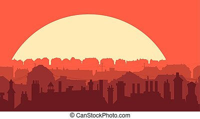 Horizontal illustration of downtown part of city at sunset.