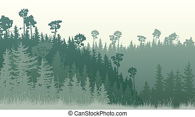 Horizontal illustration of forest with grass at dusk.
