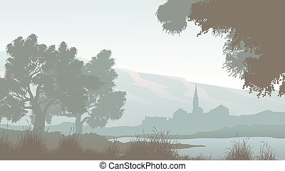 Horizontal illustration of lake with trees and village.