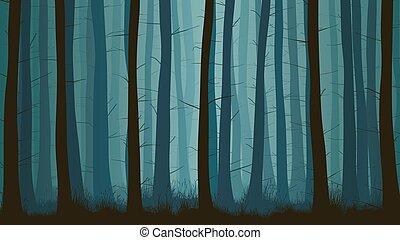 Horizontal illustration of misty coniferous forest.
