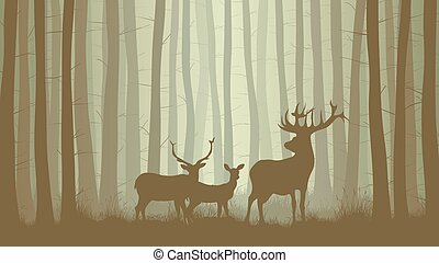 Horizontal illustration of misty coniferous forest with family deer.