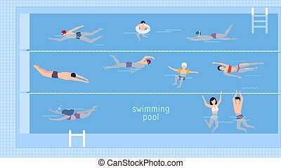 Horizontal illustration with swimmers in swimming pool. Top...