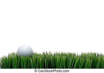 Horizontal image of a white golf ball in green grass on a ...