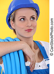 horizontal image of a woman with roll tube
