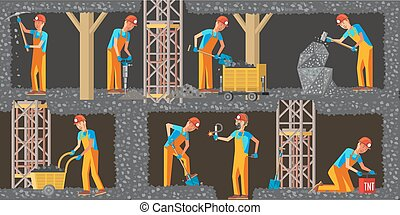 horizontal, industrie charbon, bannières, extraction