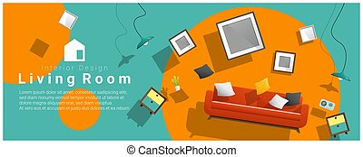 Horizontal interior banner sale with living room furniture hovering on colorful background 2