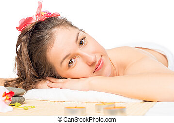 horizontal Isolated portrait of a woman at the spa