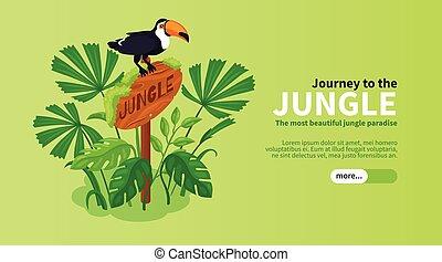 horizontal, jungle, isométrique, bannière