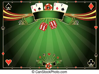 horizontal, kasino, grüner hintergrund