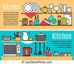 Horizontal kitchen banners templates