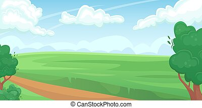 Horizontal landscape of a green summer field with a dirt road. Natural landscape. Agricultural fields. Agriculture, farming.