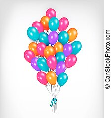 Horizontal line, border of shiny colorful balloons