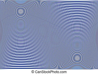 Horizontal lines / stripes pattern or background with wavy, curving distortion effect. Bending, warped lines. Blue version. Horizontal lines / stripes pattern or background with wavy, curving di
