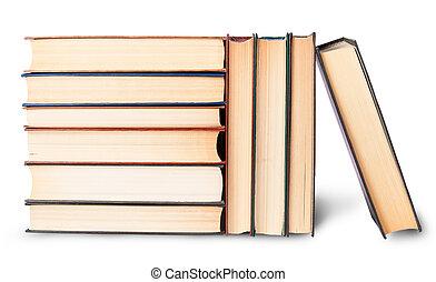 horizontal, livres, vieux, piles, vertical